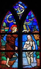 Fototapete - Stained Glass - Baptism of Jesus by Saint John the Baptist