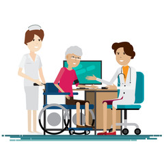 Doctor medical with grandmother  Vector illustration