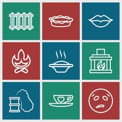 Set of 9 hot outline icons