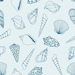 Seashells. Contour drawing. Vector seamless pattern