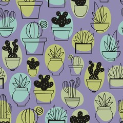 Cactus. Linear stylized drawing. Vector seamless pattern