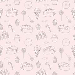 Sweets. Vector seamless pattern for design