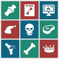 Set of 9 bone filled icons