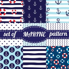 Vector illustration. Set of sea and nautical backgrounds in navy blue and white colors. Sea theme. Seamless patterns collection.