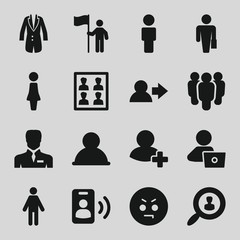 Set of 16 user filled icons
