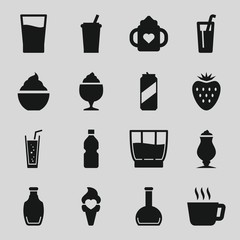 Set of 16 refreshment filled icons