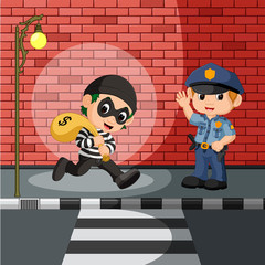 thief and police cartoon