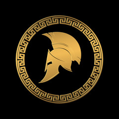 Symbol a Spartan helmet, an ornament in the Greek style gold color.
