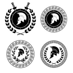 Symbol a Spartan helmet is issued by an ornament in the Greek style.