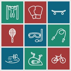 Set of 9 activity outline icons