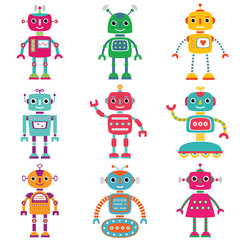 Robots, set of nine cute characters