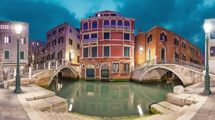 Fototapete - Two bridges and red mansion in the evening on piazza Manin square, Venice, Italy (static image with animated sky and water)