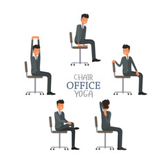 Vector illustration with office chair yoga. Businessman doing workout and stretching. Man in suit exercising on office chair. Icon set on white isolated background.