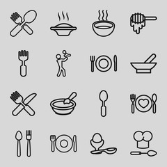 Set of 16 spoon outline icons