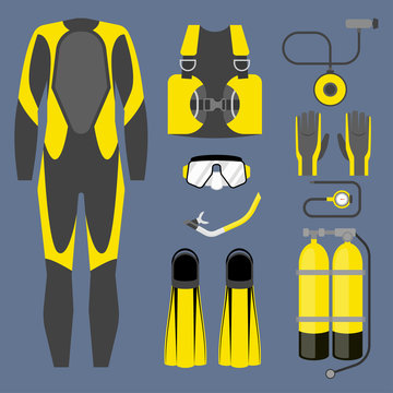Set of diving equipment icon. Wetsuit, scuba gear and accessories Underwater activity sports item.
