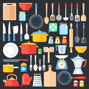 Kitchen utensils set. Kitchenware, cookware, kitchen tools collection. Modern flat icons set, graphic elements, objects. Flat design concept. Vector illustration
