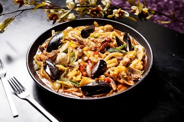 Stir-fried Seafood Udon. Japanese style noodles.