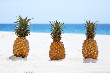 Three pineapples on white sandy beach background