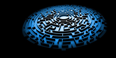 blue circular maze structure ablaze with light surrounded by darkness