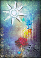 Canvas Prints Imagination Red rose in the blue starry sky and sun