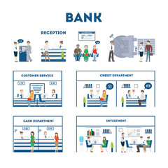 Bank interior set with visitors and workers. Waiting room, safe, customer service and cash department. Isolated illustartions on white background.