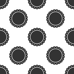 Quality emblem icon seamless pattern on white background. Vector Illustration