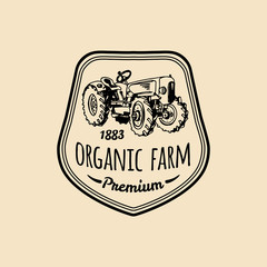 Vector retro family farm logotype. Organic premium quality products logo. Vintage hand sketched tractor icon.