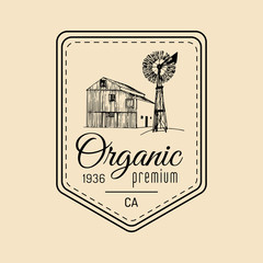 Vector retro family farm logotype. Organic premium quality products badge. Vintage hand sketched barn and windmill icons