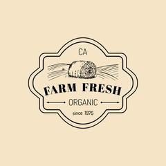Vector retro farm fresh logotype. Organic premium quality products logo. Vintage hand sketched haystack icon.