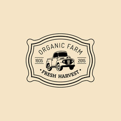 Vector retro farm fresh logotype. Organic quality products badge. Eco food sign. Vintage hand sketched pickup truck icon