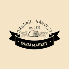 Vector retro farm fresh logotype. Organic premium quality products logo. Vintage hand sketched haystack icon.