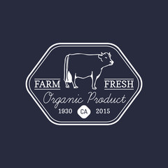 Vector retro farm fresh logotype. Organic premium quality products badge. Eco food sign. Vintage hand sketched cow icon.