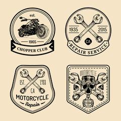 Vector vintage biker club signs. Motorcycle repair logos set. Hand sketched garage labels. Custom chopper store emblems.