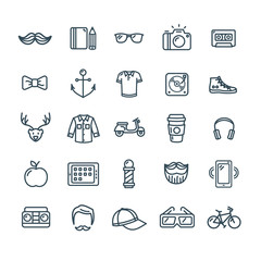 Hipster Icon Black Thin Line Set. Vector