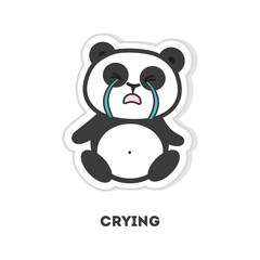Isolated crying panda sits on white background.