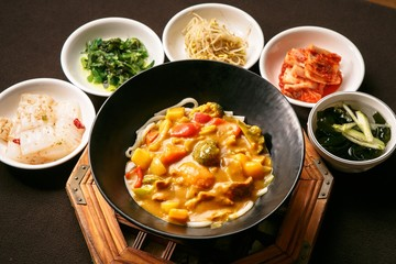 Curry Udon with Pork Cutlet. Japanese style curry cuisine.