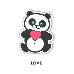 Love from panda. Isolated sticker on white background.