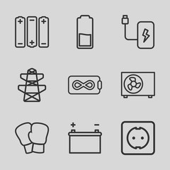 Set of 9 supply outline icons
