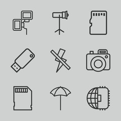 Set of 9 flash outline icons