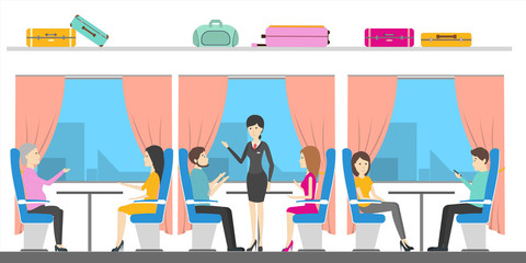 Traveling by train. People sit in the comfortable places. Railway tourism.