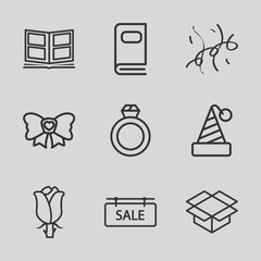 Set of 9 gift outline icons