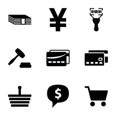 Set of 9 buy filled icons