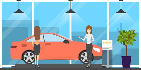 Automobile showroom interior. Car, salesman and visitor
