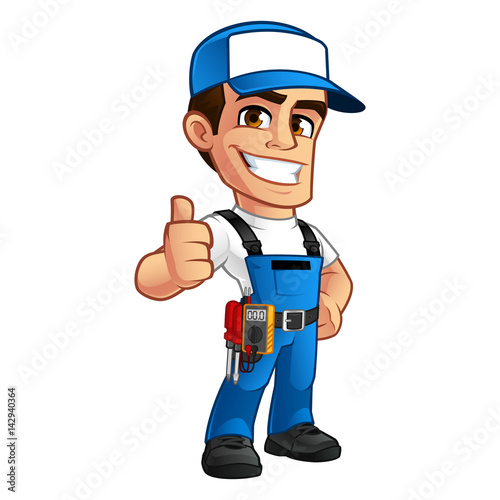 "What Is A Journeyman Electrician >> ""Vector illustration of an electrician, he wears work clothes"" Stock image and royalty-free ..."