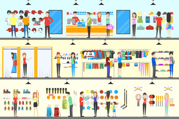 Sport store interior. Salespeople with visitors. Buying sports clothes.
