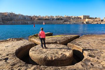 View of Valletta from Fort Sant Angelo in Birgu. Malta island.