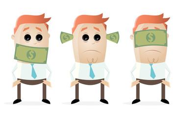 deaf dumb blind businessmen with dollar bank notes