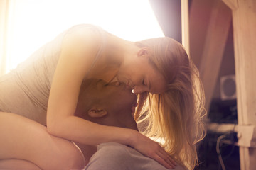 Loving couple kissing