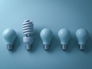 One eco energy saving light bulb different and stand out from old incandescent lightbulbs on cyan background with shade and shadow , individuality and different creative idea concept . 3D rendering.