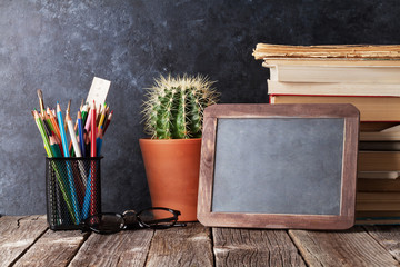 Supplies, cactus and chalk board